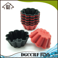 Flower Shaped Nonstick Silicone Reusable Cupcake Molds For Muffin