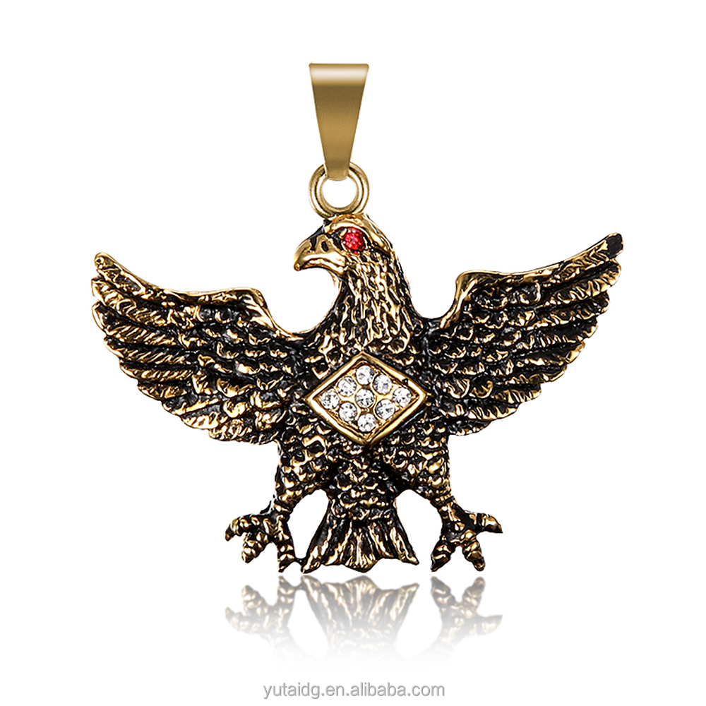 Jingli Jewelry Trending Hot Products Diamond Gold Eagle Shaped Stainless Steel Pendant