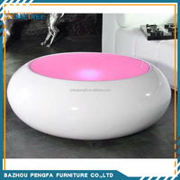 White High Gloss LED Coffee Table With Tempered Glass Top