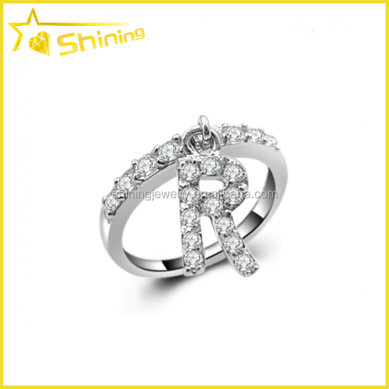Quality wholesale micro pave CZ 925 fashion charm letter r finger rings