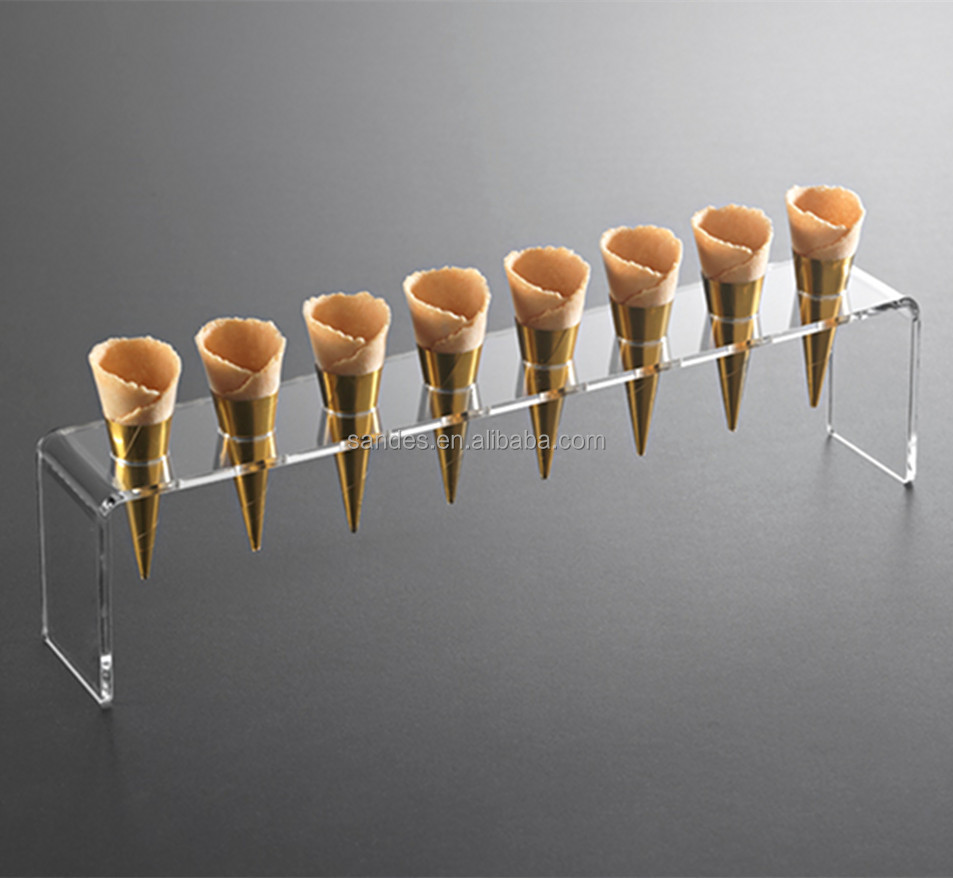 Single Line Holes Mini Cone Holder Clear Acrylic Ice Cream <strong>Display</strong>