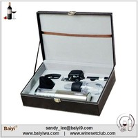 Promotional Gift 4-piece Wine Tools Set with Leather Box
