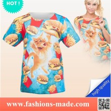 Funny Cat and Fast Food Print T-Shirts