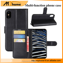 Colorful TPU+PU case phone cover with phone holder, 3 In 1mobile phone case for iphone X