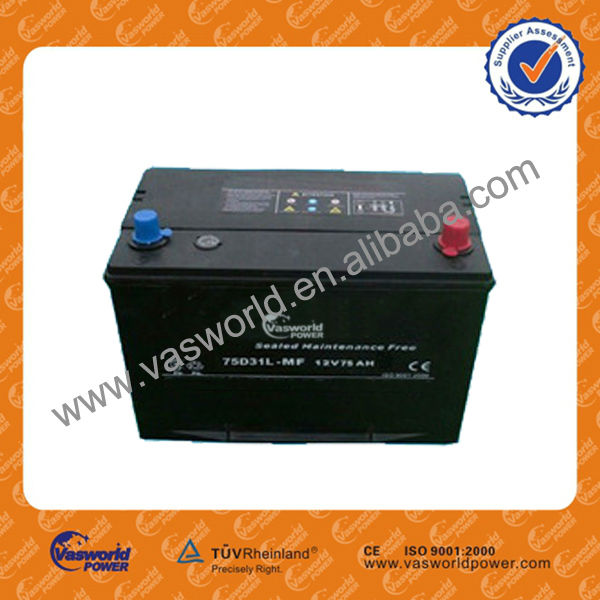 75D31L MF 12V 75AH Car Battery wholesale/maintenance free/JIS standard