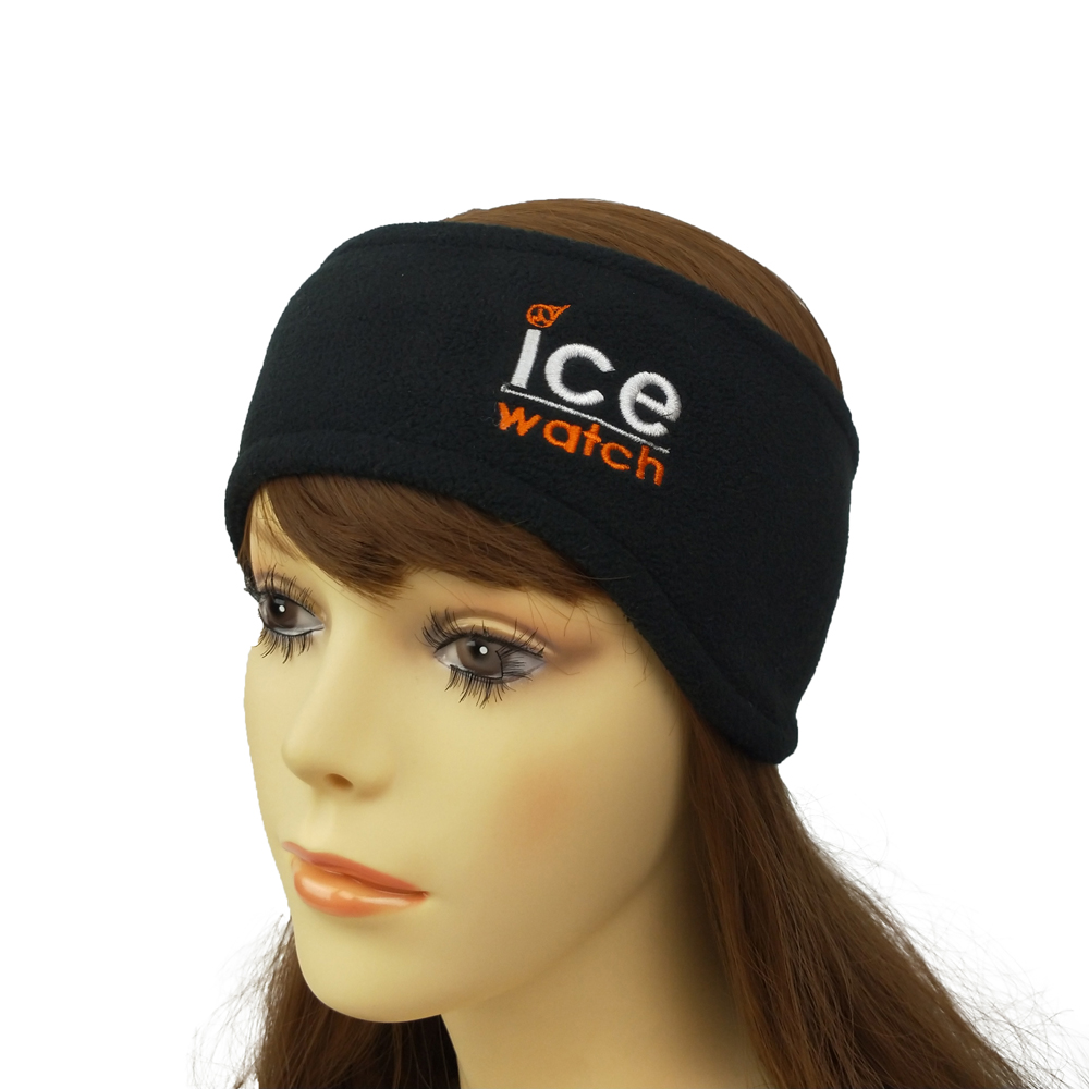 Promotional custom embroidery logo <strong>headbands</strong> outdoor winter polar fleece ear warmer <strong>headband</strong> for women