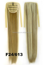 Clip on synthetic long length Wrap Invisible Ponytail Straight HairPiece hair extension