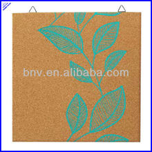 Quality printed decorative printed hanging cork board, colored coard squares,