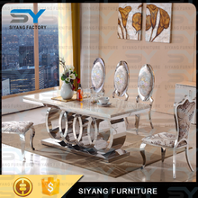 Dinning table set dining room furniture used banquet tables 8 seater marble dining table CT005