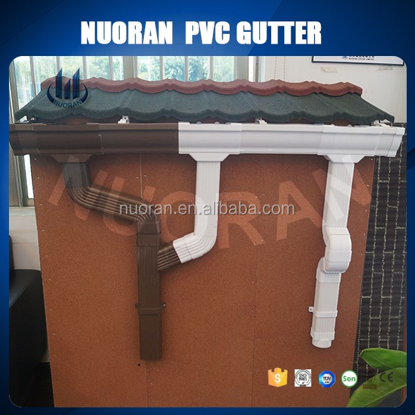 factory hot sell plastic brown pvc rain gutter fittings