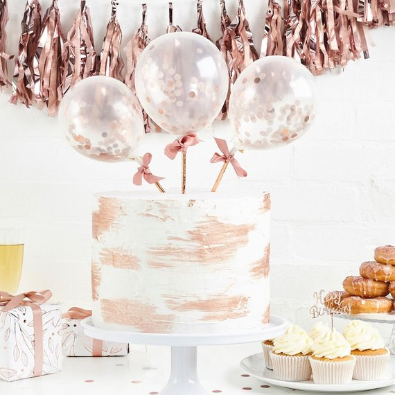 "5"" Mini Rose Gold Confetti Balloons Happy Birthday Party Supplies,Kids Inflatable Toy BabyShower Girl 1st Birthday Decorations"