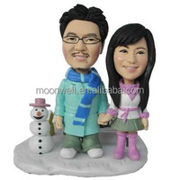 Custom bobblehead, wedding cake topper handmade, creative wedding gift--Snowing, personalized anniversary gift