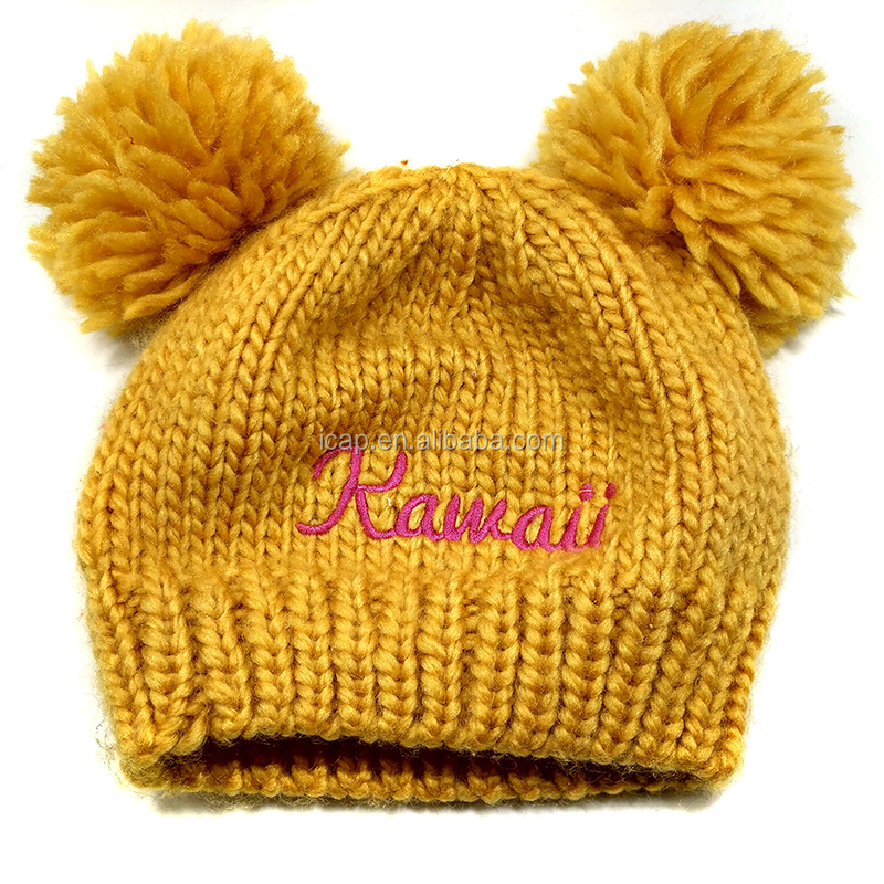 Kids Cotton Hand Knitted Woolen Caps Fashion Winter Hats And Caps With Pom