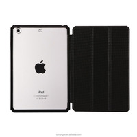 Ultra thin smart leather back cover case for iPad mini 4 ,Back PC could be transparent or Rubber coating