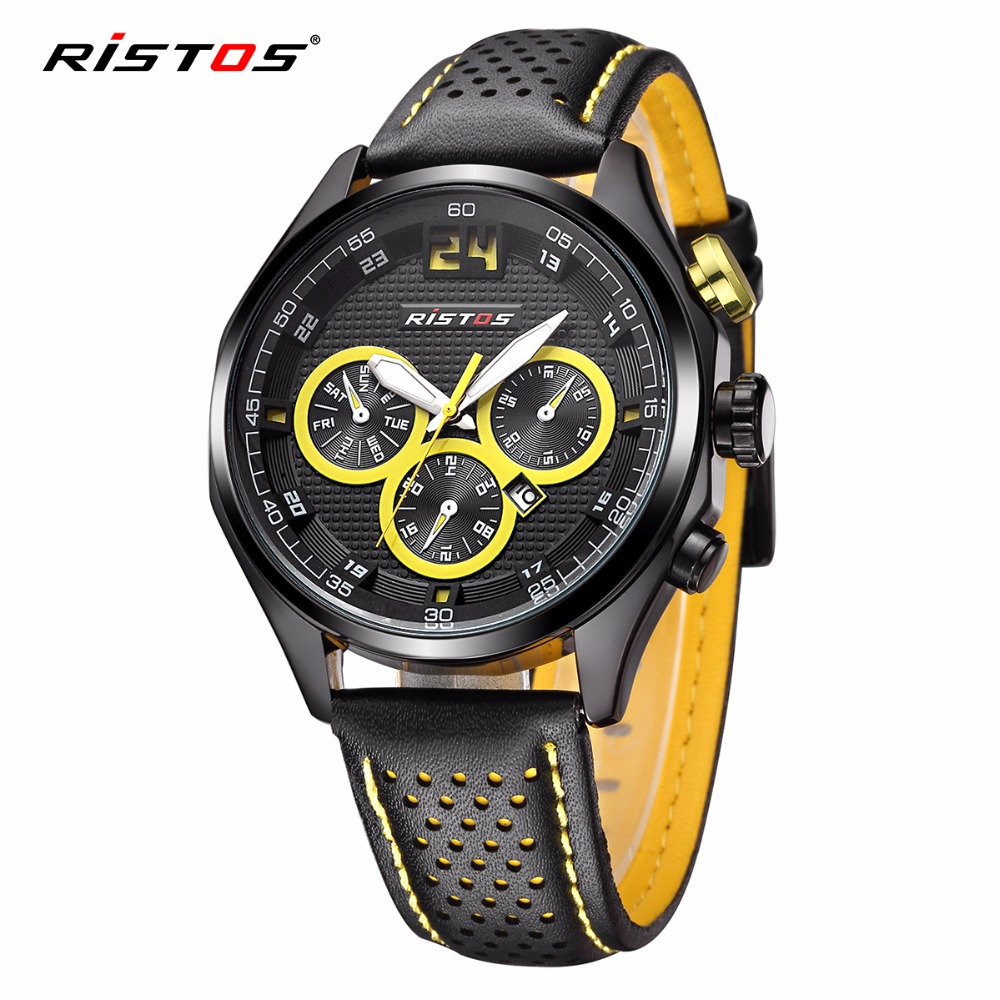 RISTOS Brand Quartz-watch Male Students Sports Watches Exquisite Calendar Men Military Leather Watch reloj hombre