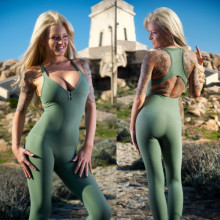 active wear army green sexy v neck yoga jump suit for women