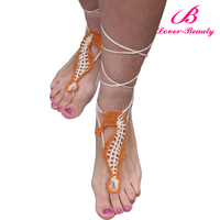 2016 Latest sea horse beach wedding yellow barefoot sandals