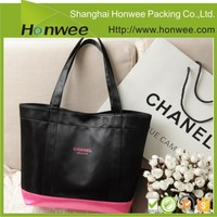 custom design zipper foldable tote bag with snap closure
