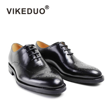 handmade cow leather black brogue oxford shoe man top brand classic shoes