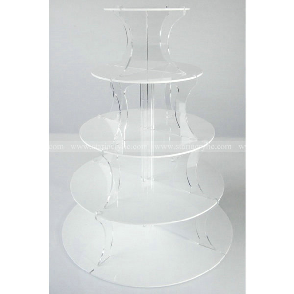 Clear Round 5 Tier Acrylic Display Stand for cake and jewellery 5 tiers Acrylic Cupcake Display Holder