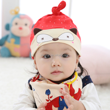 red color fox style 100% cotton soft printed cute baby hat with bibs