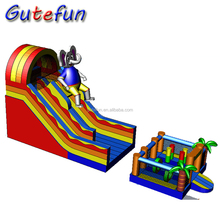 NEW design elephant kids inflatable slide with detachable inflatable bouncer castle, inflatable bouncer slide for children