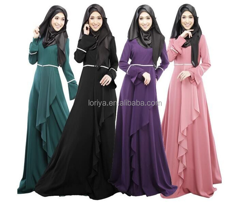 Alibaba wholesale OEM supplier abaya latest design long sleeve muslim evening dress