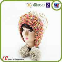 With Name Embroidery Floppy Knitted Beanie Animal Fur Crochet Hat
