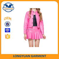 leather jacket and leather skirt motorcycle leather suit for ladies