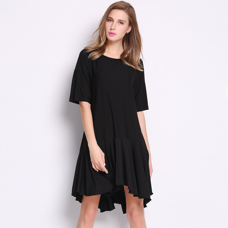 2f776d41b28 Get Quotations · Plus Size Dress Women Casual Dress Pleated Dress 2015  Summer New Fashion O-Neck Solid