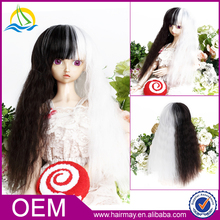 Guangzhou factory wholesale cheap price very long curly black/white synthetic doll wig