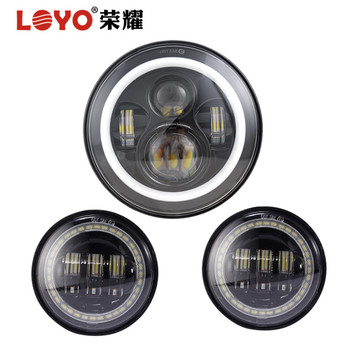 "Halo Ring Type Harley LED Light Kits 7"" LED Headlight + 4.5"" Passing Lamp for Harley Motorcycle"