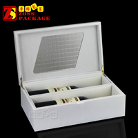 Custom White Matte Lacquered Wood Wine Glass Gift Box