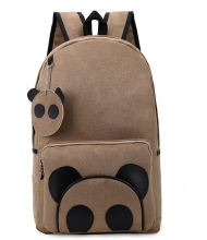 Hot Selling Girl and Boys Cute Cartoon Panda Bag Canvas and Leather Backpack for Teenager Girls