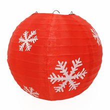 Snowflake Printed Outdoor Hanging Nylon Christmas Lantern