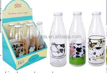 big capacity 1000ml food grade glass milk bottle with lid glass bottle from China