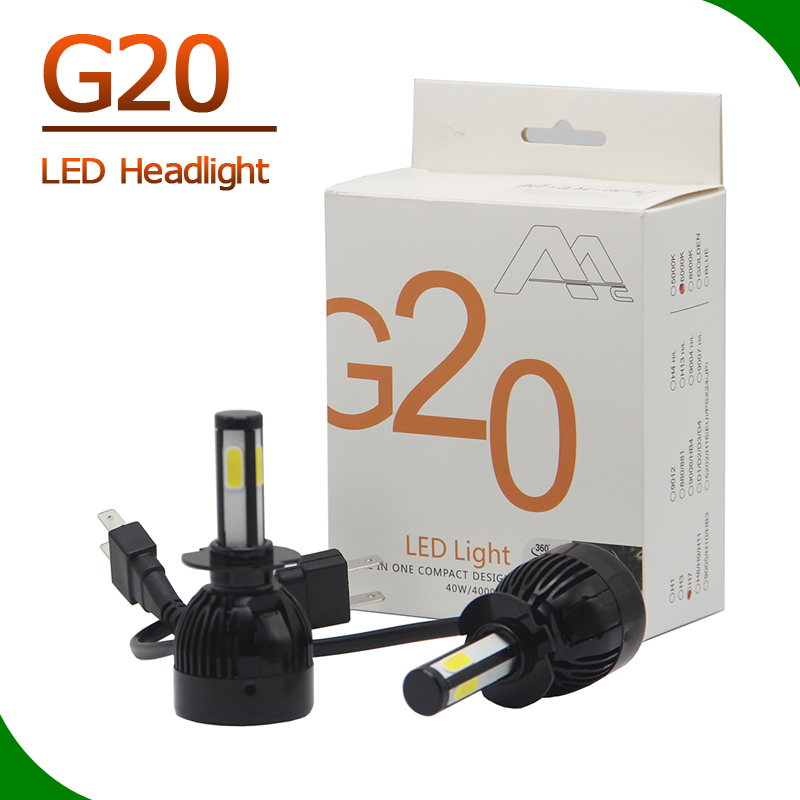 Usa newest auto bulb 4 sides cob led manufacturer H1 H3 H7 H8 H9 H11 9005 9006 HB3 HB4 D2S 880 9012 5202 H16 led lighting g20