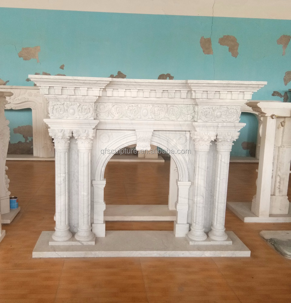 Popular white marble stone double column fireplace mantel stock