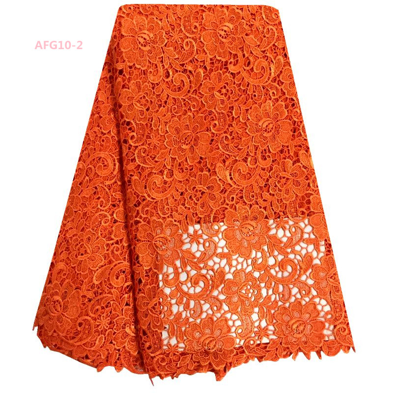 Orange African Lace Materials Embroidered Guipure Lace/Cord Lace Fabric