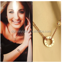 collares de moda 2015 stainless steel girls18K rose gold double layer round circle necklace rhinestone pendant
