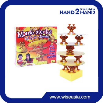 Intelligent table top educational toy games ABS mouse stack balance