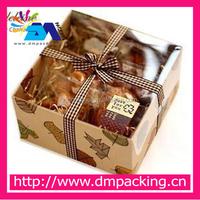 bakery packaging, kraft leaves transparent skylight cover cake ,West Point Box