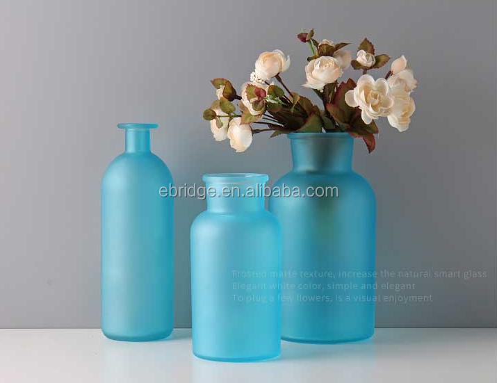blue purple white matte frosted home decoration color glass vase