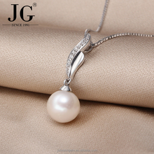 PA2602 Latest Fashion Fire Flame Design Natural Freshwater Pearl Beads Drop pendant Necklace, Ladies Silver Jewellery for Women