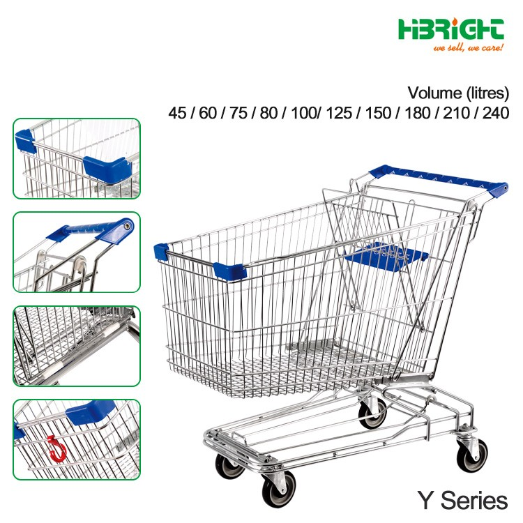 best grocery shopping cart manufacturer cheap price four wheels metal supermarket used shopping trolley for sale