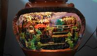 miniature waterfall in a barrel