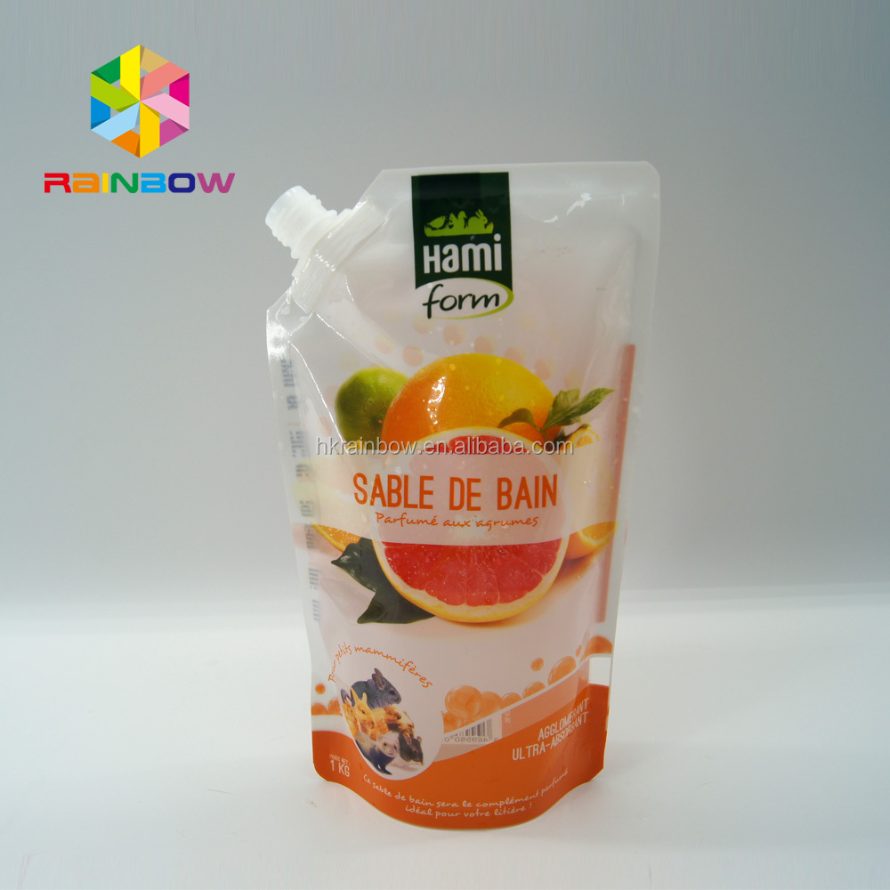 Liquid stand up pouch with spout / lid spout frozen food plastic bags for milk