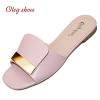Name brand casual shoes women fashion wholesale pu ladies flat designer slippers for women slippers