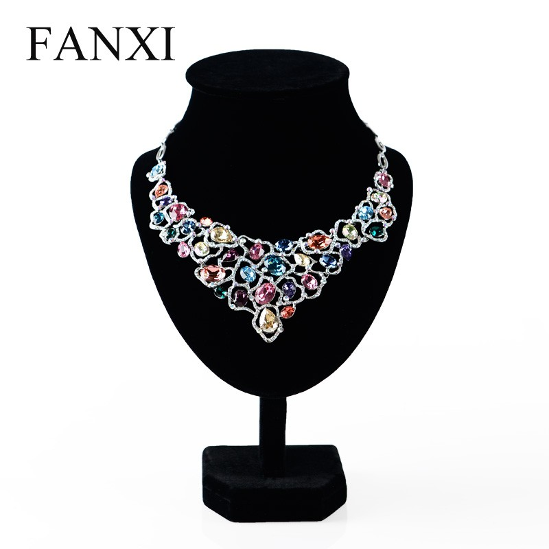 FANXI china wholesale black color velvet jewelry display stand necklace/pendant display for showcase jewelry display manequin