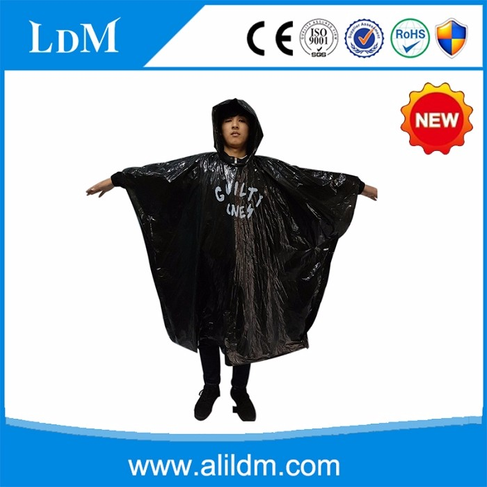 print logo black disposable rain poncho/rain coat for any occation
